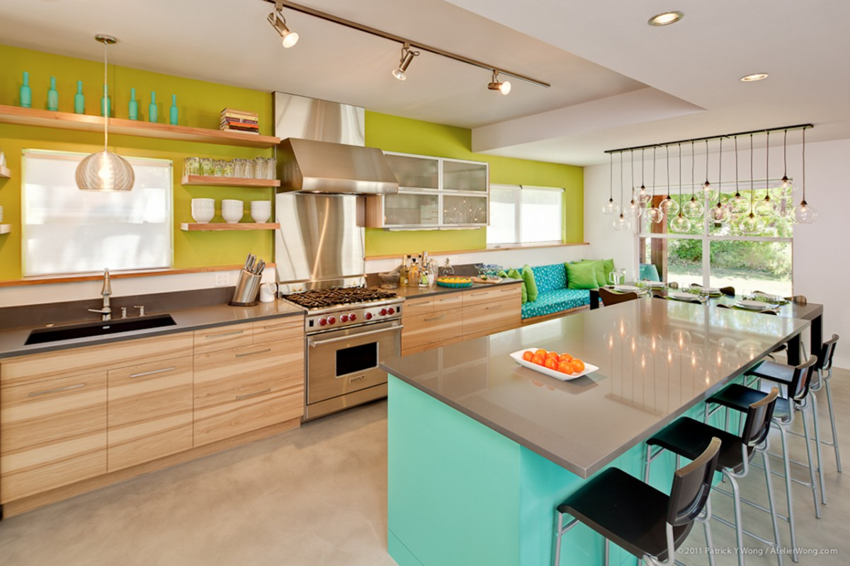 From milan to your living room colour blocking design for Lime kitchen wallpaper