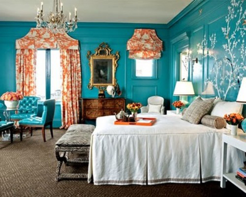 Coral and teal or turquoise whatever floats your boat for Turquoise wallpaper for bedroom